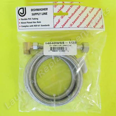 """1/2 Comp X 3/8 Comp X 48"""" 3/8 Elbow Stainless Steel Dishwasher Hose Part# 1404DWSS-1/2B"""""""