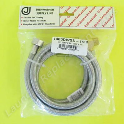 """1/2 Comp x 3/8 Comp x60"""" W/3/8 Elbow Stainless Steel Dishwasher Hose Part# 1405DWSS-1/2B"""